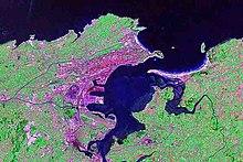 La baia di Santander vista dal satellite
