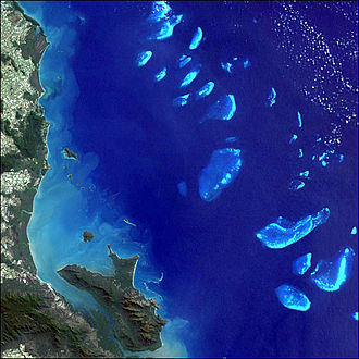 IUCN protected area categories - Satellite image of the Great Barrier Reef Marine Park, Australia