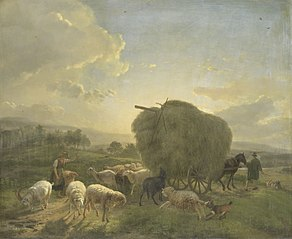 Landscape with Sheep and a Hay Wagon