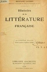 Gustave Lanson: Histoire de la littérature française