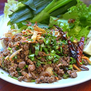 Larb - Larb khua mu, a stir-fried northern Thai larb made with pork, in Chiang Mai
