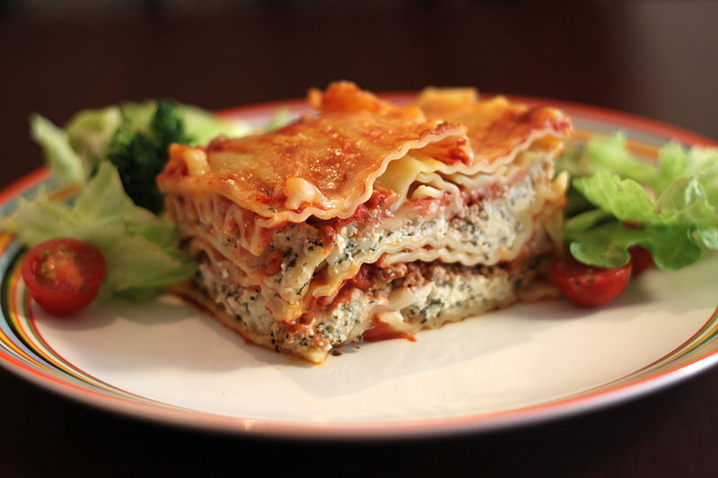 File:Lasagna with salad, May 2011.jpg