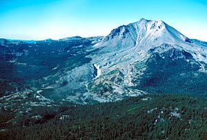 Lassen Peak - Northeast side of Lassen Peak, showing the area devastated by mudflows and a lateral blast in 1915.