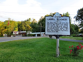 Laurel Bloomery, Tennessee - Tennessee Historical Commission marker in Laurel Bloomery