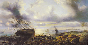 Careening - 19th-century painting of vessels being careened.