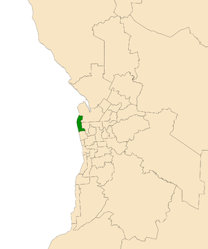 Electoral district of Lee - Electoral district of Lee (green) in the Greater Adelaide area