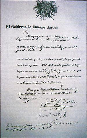 Esteban Mestivier - Document naming Esteban Mestivier with the rank of brevet major by Juan Manuel de Rosas in 1829.