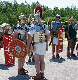 Legio III Cyrenaica - Roman re-enactors portraying Legio III Cyrenaica. Note the Menapian auxiliary standing on the right side of the photograph.