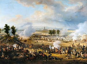 Scene of the battle in which Napoleon, followed by some generals, advances on horseback from the left towards the centre of the image. Behind him, a regiment confronts in line the head of the Austrian pursuit column, while Desaix is being mortally wounded at the head of his men. Further to the right, General Zach is captured by some cavalrymen and General Saint-Julien tries to escape the same fate. In the background General Kellermann conducts his famous cavalry charge in the flank of the Austrians. Behind all the action lies the village of Spinetta, in front of the Apennines.