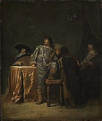 Five men playing music in an interior