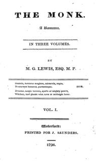 <i>The Monk</i> novel by Matthew Lewis