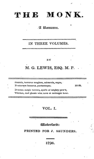 The Monk - Title page of the second edition, 1796