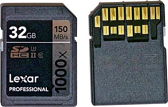 Micron Technology - Lexar SDXC UHS-II memory card (front and back).