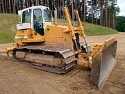 A Liebherr bulldozer with ripper at the back