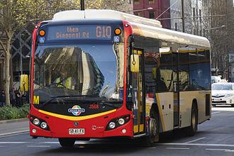 Light-City Buses - Custom Coaches bodied Scania K280UB on King William Street in September 2014
