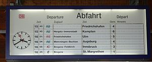 Lindau Hauptbahnhof - The departure board in 2005