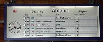 Lindau Hauptbahnhof - The departure board in 2005