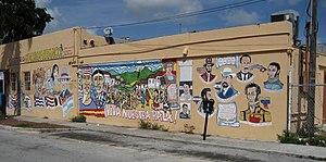 Nicaraguans - A mural in Little Managua featuring Nicaraguan poet, Rubén Darío, Venezuelan Simón Bolívar among others.