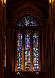 The cathedral's west window. The uppermost window is the Benedicite window.