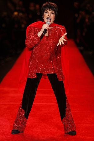 Liza Minnelli discography - Red-dressed Minnelli displayed at a national campaign to raise awareness of the risk of heart disease in women — The Heart Truth — on February 1, 2008 during New York Fashion Week.