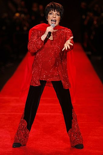 "American actress and singer Liza Minnelli has been referred to as the ""Queen of Broadway"". Liza Minnelli Heart Truth2.jpg"
