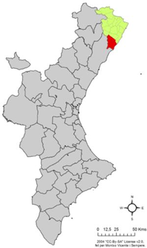 Alcalà de Xivert - Localisation of Alcalà de Xivert in the Valencian Community