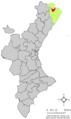 Localització de Canet lo Roig respecte del País Valencià.png