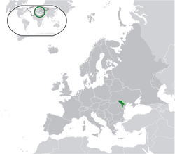 Location of Moldova in Europe (green) and its uncontrolled territory of Transnistria (light green)