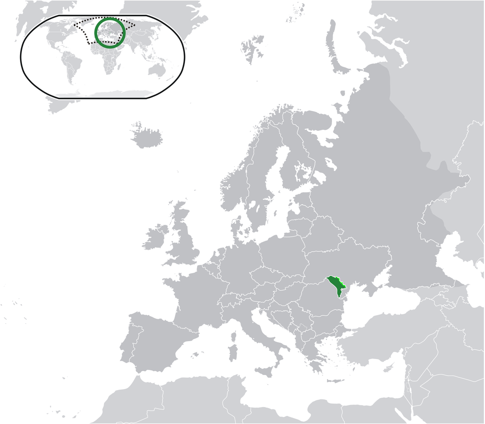 Location of Moldova (green) and Transnistria (light green) in Europe.