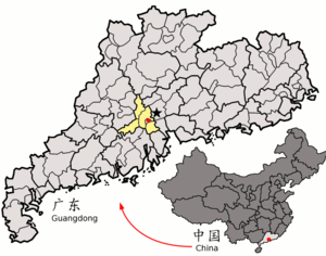 Map of Foshan, a prefecture-level city in in the Province of Guangdong