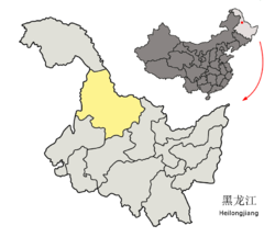 Location of Heihe City (yellow) in Heilongjiang (light grey)