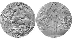 1908 Summer Olympics medal table - Olympic prize medal for the first three of each competition (front and obverse)