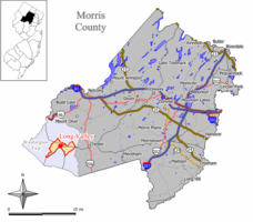 Map of Long Valley CDP in Morris County. Inset: Location of Morris County in New Jersey.