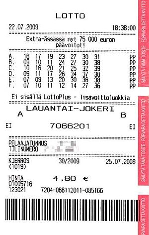 Veikkaus - A modern Finnish Lotto coupon, with personal info (customer no. and account for winnings) blanked out. These coupons are printed out on a terminal connected to  Veikkaus, the lottery provider, whenever a player participates in the lottery.
