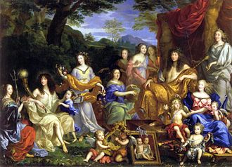 House of Orléans - A posthumous mural commissioned around 1670 by Philippe I, Duke of Orléans. It includes: Henrietta Maria of France (d 1669), exiled Queen of England; Philippe de France, founder of the House of Orléans; his first wife Henrietta Anne Stuart (d 1670); the couple's first daughter Marie Louise of Orléans (later Queen of Spain); Anne of Austria (d 1666); the Orléans daughters of Gaston de France; Louis XIV; the Dauphin with his mother Maria Theresa of Spain with her third daughter Marie-Thérèse de France, called Madame Royale (d. 1672) and her second son Philippe-Charles, Duke of Anjou (d. 1671). The first daughter of Gaston stands on the far right: Anne Marie Louise d'Orléans. The picture frame with the two children are the other 2 daughters of Louis and Maria Theresa who died in 1662 and 1664.