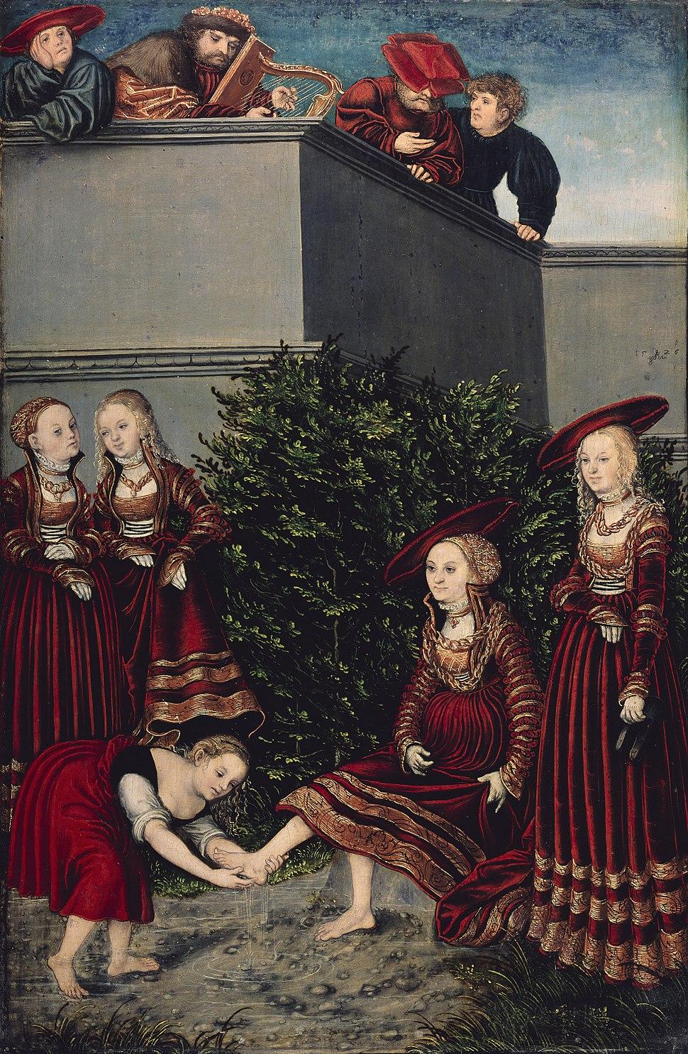 Lucas Cranach d.Ä. - David und Bathseba (Gemäldegalerie, Berlin)