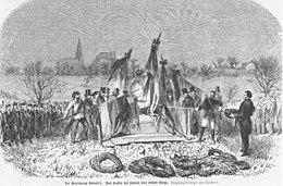 """Holzstich der E. Hallberger X. A. zur Beerdigung Ludwig Uhlands 1862, nach """"Originalzeichnungen von Kleemann"""" (Quelle: Wikimedia)"""