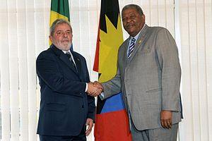 Baldwin Spencer - Spencer with the President of Brazil, Lula da Silva.