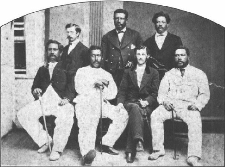 Lunalilo seated with Kalakaua and others
