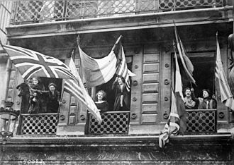 German occupation of Luxembourg during World War I - Luxembourgers celebrating the liberation of their country and welcoming the arrival of Allied soldiers after the Armistice, November 1918.