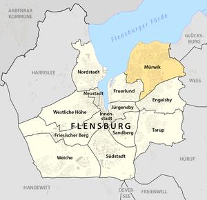 Mürwik - Location of Mürwik within Flensburg.
