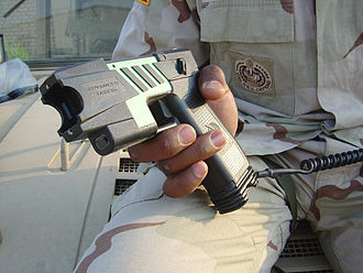 The M-26 TASER, the United States military version of a commercial TASER M26 Taser.jpg