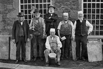 Withnell Fold - Withnell Fold mill workers c1875: Joseph Blackburn, Peter Brindle, Thomas Blinkhorn Parke, Richard Cranshaw (seated), John Eccles, John Hilston