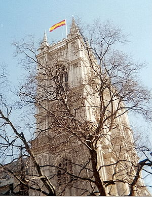 Colin Cowdrey - The MCC flag flying over Westminster Abbey on the day of Cowdrey's memorial service.