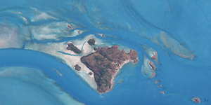 Mabuiag Island - Landsat image of the Bellevue Islands, with Mabuiag in the centre