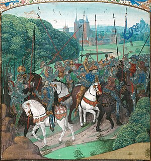 Isabeau of Bavaria - In his first bout of illness, Charles VI attacked his knights in 1392, shown in a miniature from Froissart's ''Chronicles''.