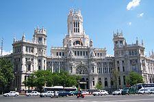 Palacio de Comunicaciones, situado en la Plaza de Cibeles, del arquitecto Antonio Palacios.