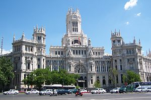 "Comunications Palace, also known as ""Casa de Correos"", in Cibeles Square."