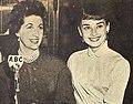 Maggi McNellis interviewing Audrey Hepburn, 1953.jpg