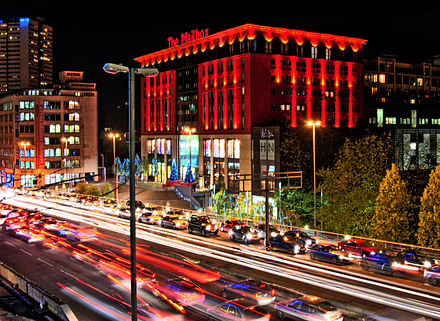 The Mailbox, headquarters of BBC Birmingham Mailbox at Night.jpg